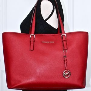 MICHAEL KORS Red Saffiano Leather Tote/Bag/Purse